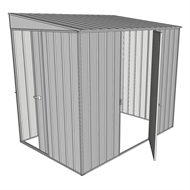 Build-a-Shed 2.3 x 1.5 x 2.0m Dual Door Narrow Skillion Shed - Zinc
