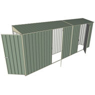 Build-a-Shed 0.8 x 5.2 x 2m Single Hinged Door Skillion Shed with Dual Single Hinged Side Doors - Green