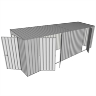 Build-a-Shed 1.5 x 6 x 2m Skillion Double and Single Hinged Side Doors Shed - Zinc