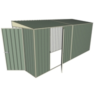 Build-a-Shed 1.5 x 4.5 x 2.0m Tunnel Shed Tunnel Hinged Door +1 Hinged Side Door - Green