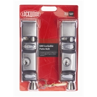 Lockwood Satin Chrome Keyed Patio Door Bolt - 2 Pack
