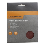 Craftright 125mm Hook and Loop Sanding Discs - 10 Pack