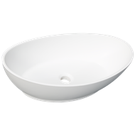 D'Lucci White Acrylic Solid Surface Elliptic Basin