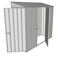 Build-a-Shed 0.8 x 2.3 x 2m Hinged Door Tunnel Shed with Single Hinged Side Door - Zinc