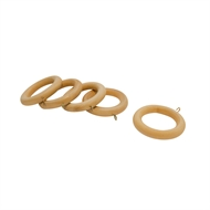 Windoware 35mm Natural Wood Pole Curtain Rings - 5 Pack