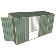 Build-A-Shed 1.2 x 3.7 x 2.0m Zinc Skillion Double Sliding Side Door Shed - Green