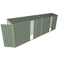 Build-a-Shed 0.8 x 6 x 2m Singled Hinged Door Skillion Shed with Dual Single Sliding Side Doors - Green
