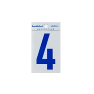 Sandleford 65mm Blue Reflective Self Adhesive Numeral 4