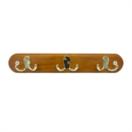 Adoored Hook Board With 3 Brass Double Hooks And Antique Pine Board