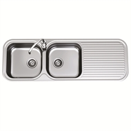 Clark 1380mm Advance Double End Bowl Sink With No Tap Hole