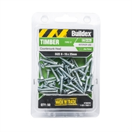 Buildex 8-15 x 25mm Zinc Plated Countersunk Head Timber Screws - 50 Pack