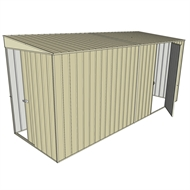 Build-a-Shed 1.5 x 4.5 x 2m Sliding Door Tunnel Shed with Side Door - Cream