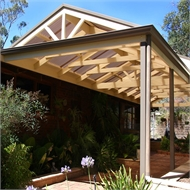 Softwoods 8.4 x 5.5m Suntuf Solarsmart Gable Roof Pergola Kit