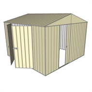 Build-a-Shed 3.0 x 3.0 x 2.3m Gable Double Hinged Side Doors Shed - Cream