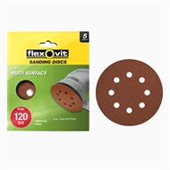 Flexovit 150mm 120 Grit 8 Hole All Surface Orbital Sanding Disc - 5 Pack