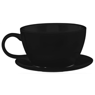 Lotus Collection 29cm Black Teacup and Saucer