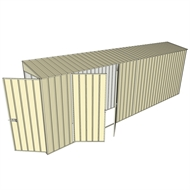 Build-a-Shed 0.8 x 6 x 2m Hinged Door Tunnel Shed with Double Hinged Side Doors - Cream