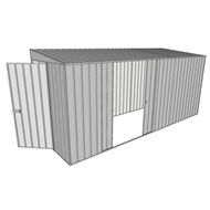 Build-a-Shed 1.5 x 4.5 x 2m Hinged Door Tunnel Shed with 2 Sliding Side Doors - Zinc
