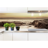 Bellessi 650 x 595 x 5mm Glass Graphic Splashback  - Beach Dream