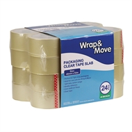 Wrap & Move 48mm x 50m Clear Packaging Tape - 24 Pack