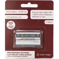 Solar Magic 3.2V 600mAh 14500 Lithium Batteries - 2 Pack