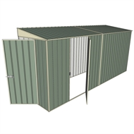 Build-A-Shed 1.2 x 4.5 x 2.0m Zinc Tunnel Shed Tunnel Hinged Door with 1 Hinged Side Door - Green