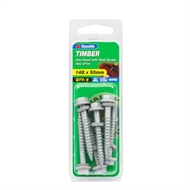 Zenith 14g x 50mm Galvanised Hex Head With Seal Timber Screws - 6 Pack