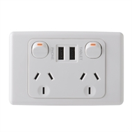 Deta 240V 10 Amp Double Outlet Powerpoint With Dual 3.4 Amp USB Charger
