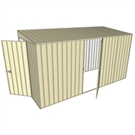 Build-a-Shed 1.5 x 3.7 x 2m Hinged Door Tunnel Shed with Hinged Side Door - Cream