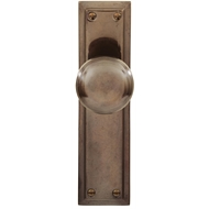 Delf Architectural Florentine Bronze Victorian Knob Latch With Plate