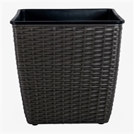 Tuscan Path 320mm Pewter Square Poly Rattan Planter