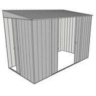 Build-a-Shed 1.5 x 3 x 2m Sliding Door Tunnel Shed with 2 Side Doors - Zinc