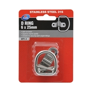 Zenith 6 x 25mm Stainless Steel D Ring Plate - 2 Pack