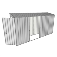 Build-a-Shed 0.8 x 3.7 x 2m Hinged Door Tunnel Shed with Double Sliding Side Doors - Zinc