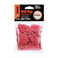 Ramset 6 x 35mm Red Wall Plugs Bag of 100