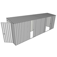 Build-A-Shed 1.2 x 6.0 x 2.0m Zinc Tunnel Shed Tunnel Hinged Door with 3 Sliding Side Doors - Zinc