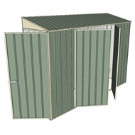 Build-a-Shed 0.8 x 3 x 2m Hinged Door Tunnel Shed with Double Hinged Side Doors - Green