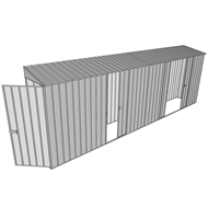 Build-a-Shed 0.8 x 6 x 2m Singled Hinged Door Skillion Shed with Single and Double Sliding Side Doors - Zinc