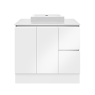 Forme 900mm Whitestone / White Gloss Parclane Square Basin Floor Vanity