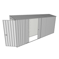 Build-a-Shed 0.8 x 4.5 x 2m Hinged Door Tunnel Shed with Double Sliding Side Doors - Zinc