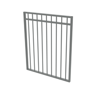 Protector Aluminium 975 x 1200mm Double Top Rail All Up Garden Gate - To Suit Gudgeon Hinges - Woodland Grey
