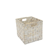 Flexi Storage Clever Cube 330 x 330 x 360mm White Natural Water Hyacinth Insert