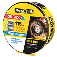 Flexovit 115 x 1 x 22.2mm Metal Cut Off Wheel - 25 Pack