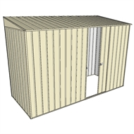 Build-A-Shed 1.2 x 3.0 x 2.0m Zinc Skillion Single Sliding Side Door Shed - Cream