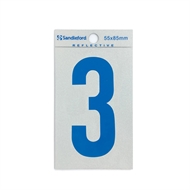 Sandleford 85mm 3 Reflective Blue Self Adhesive Numeral