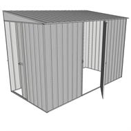 Build-a-Shed 1.5 x 2.3 x 2m Sliding Door Tunnel Shed with Hinged Side Door - Zinc
