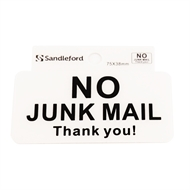 Sandleford 75 x 38mm No Junk Mail Self Adhesive Sign