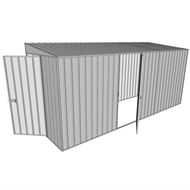 Build-a-Shed 1.5 x 4.5 x 2m Hinged Door Tunnel Shed with Hinged Side Door  - Zinc