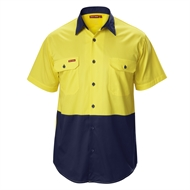 Hard Yakka Koolgear Short Sleeve Shirt - L Yellow / Navy