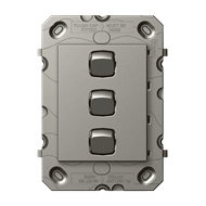 HPM ARTEOR 3 Gang Wall Switch - Grid Only - Magnesium